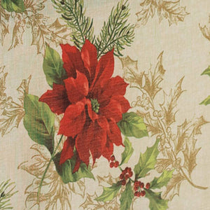Festive Poinsettia Holiday Fabric Tablecloth