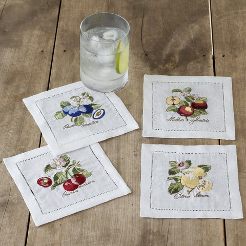 "Villeroy and Boch French Garden Cotton Embroidered Cocktail Napkin, 6""x6"" Set of 4"