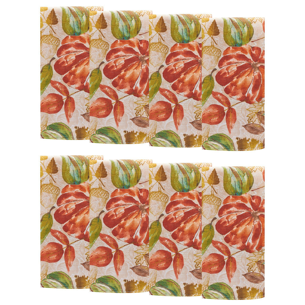 Gourd Gathering Fall Printed Napkins, Set of 8