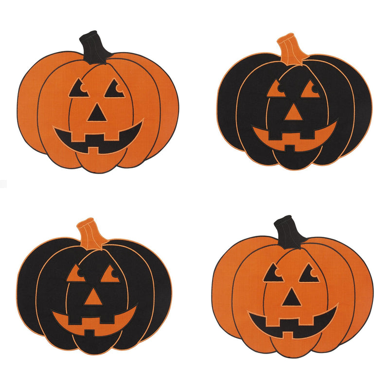 Farmhouse Living Jack-o-Lantern Pumpkin Placemats, Set of 4