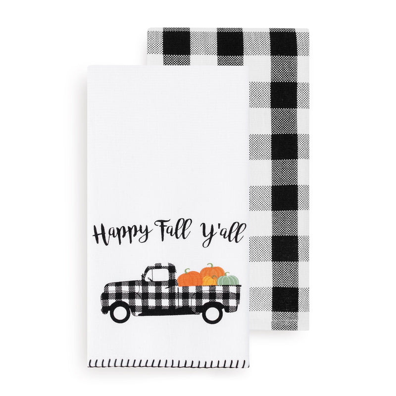 Happy Fall Y'all and Check Kitchen Towel Set