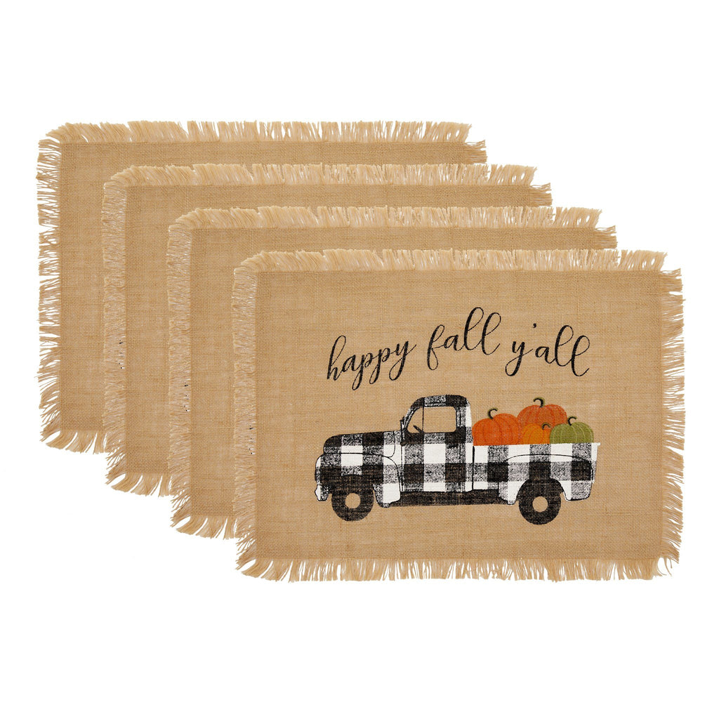 Happy Fall Y'all Farmhouse Burlap Placemat, Set of 4