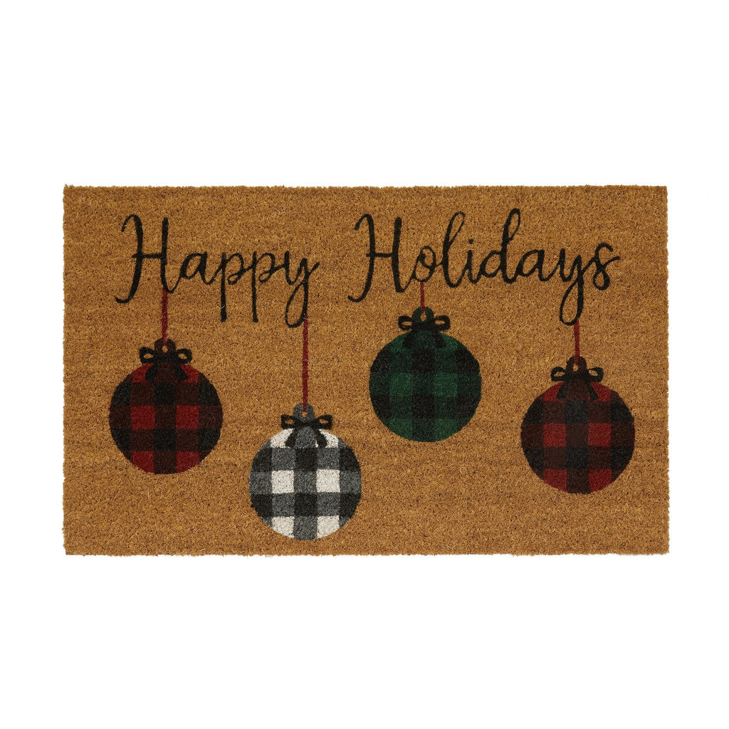 Farmhouse Living Holiday Rustic Ornaments Coir Door Mat