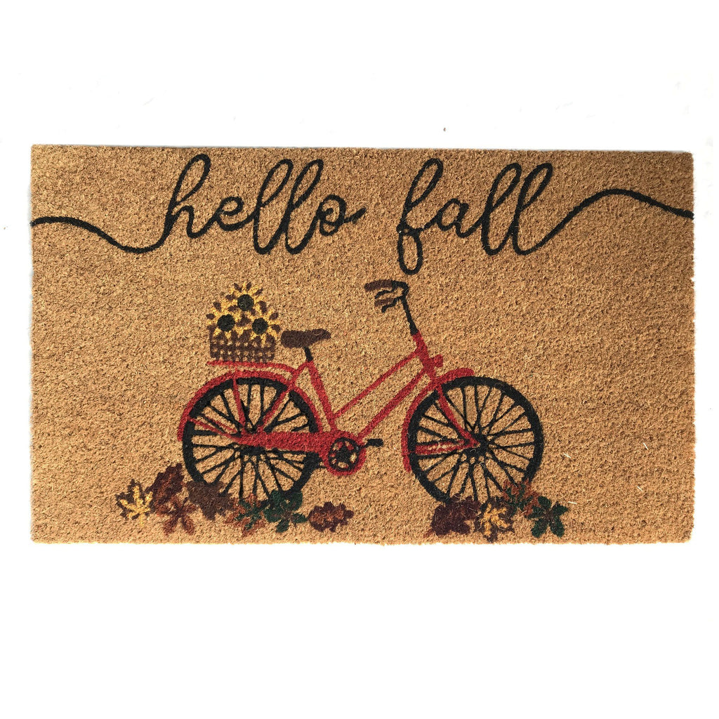 Farmhouse Living Hello Fall Bike Coir Doormat
