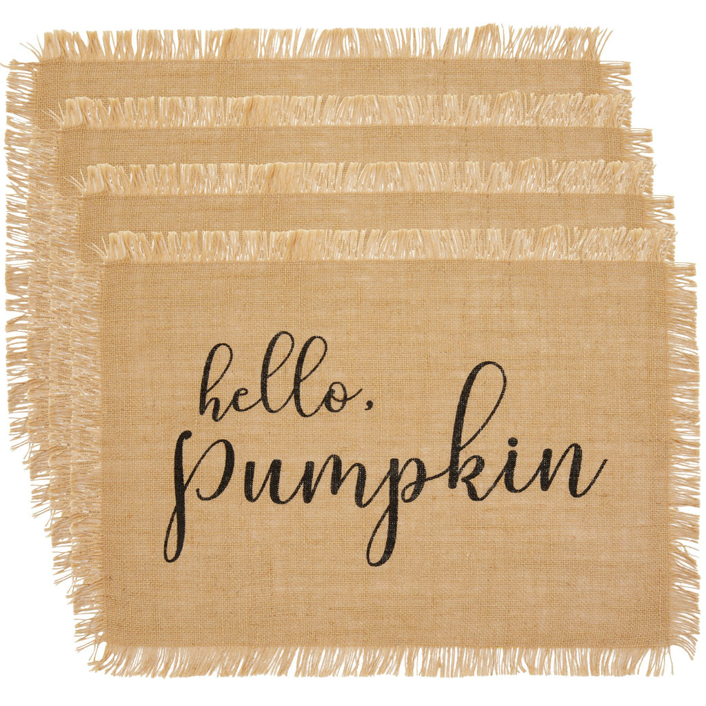 Hello Pumpkin Farmhouse Burlap Placemat, Set of 4