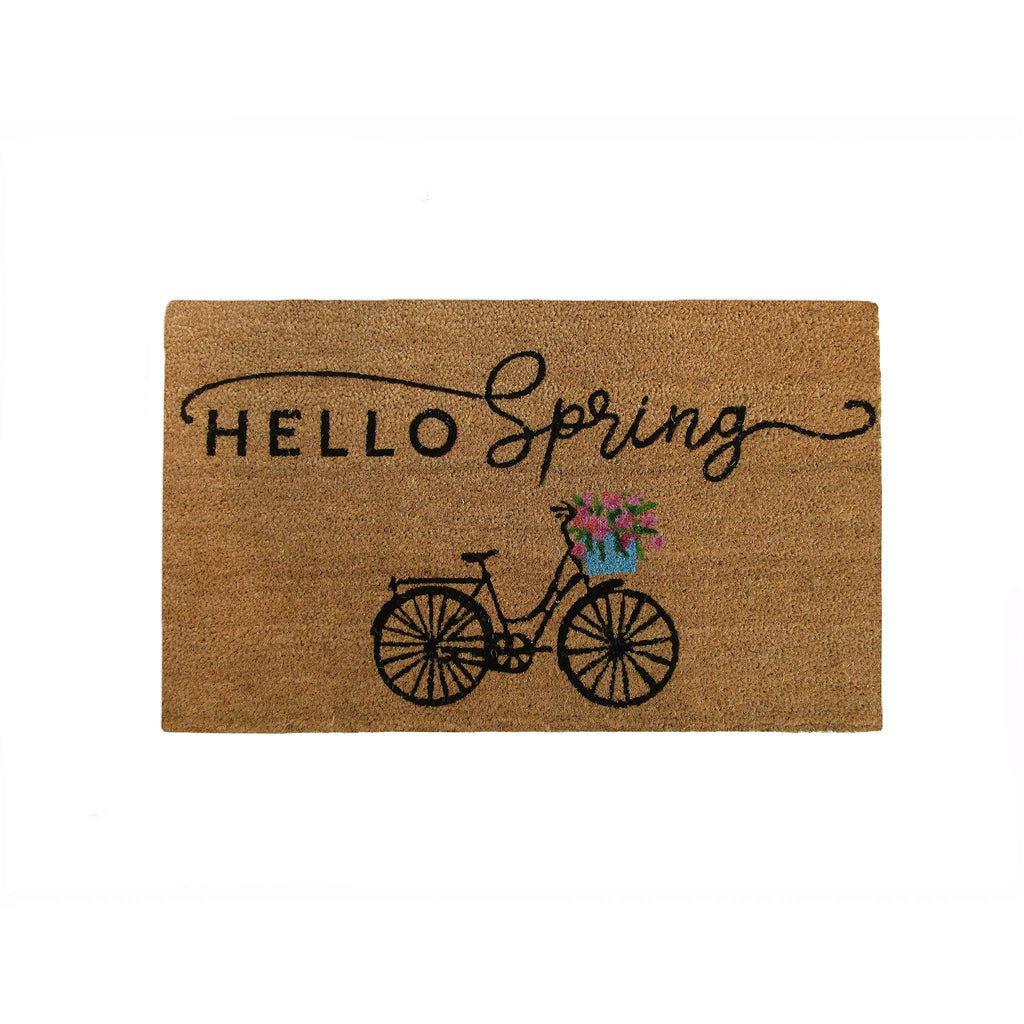 Hello Spring Bike Coir Doormat