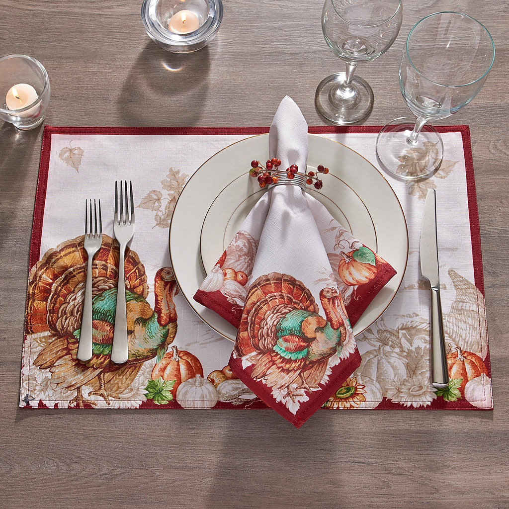 Holiday Turkey Bordered Fall Placemat, Set of 4
