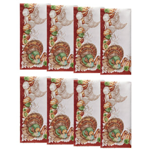 Holiday Turkey Bordered Fall Napkins, Set of 8