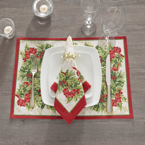 Holly Traditions Holiday Napkins, Set of 4