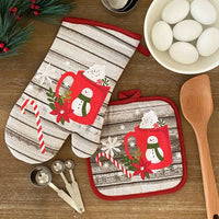 Jolly Holiday Cocoa and Candy Cane Holiday Oven Mitt and Pot Holder Gift, Set of 2