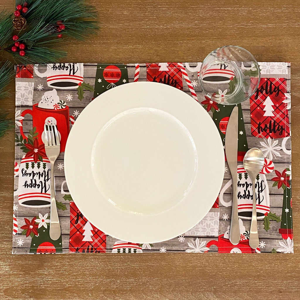 Jolly Holiday Cocoa and Candy Cane Christmas Placemat - Set of 12