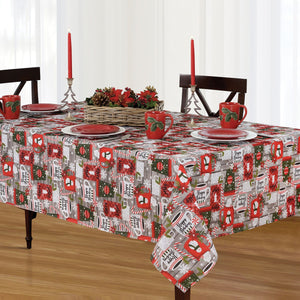 Jolly Holiday Cocoa and Candy Cane Holiday Christmas Fabric Tablecloth