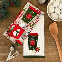 Jolly Holiday Cocoa and Candy Cane Holiday Kitchen Towels, Set of 2