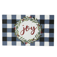 Joy Wreath with Plaid Coir Mat