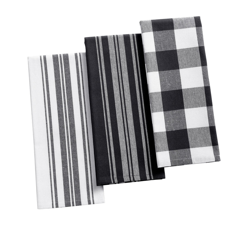 Farmhouse Living Stripe and Check Kitchen Towels, Set of 3