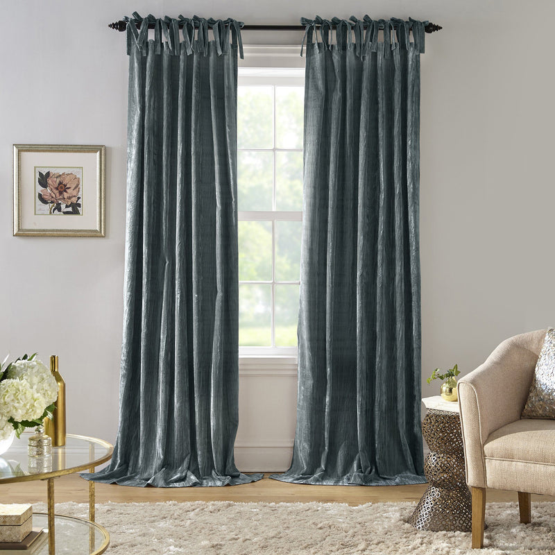 Korena Tie-Top Crushed Velvet Window Curtain