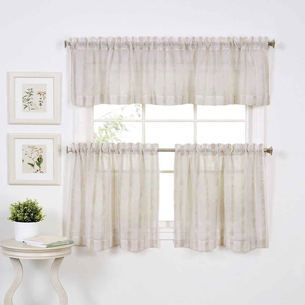 Linen Stripe Rod-Pocket Sheer Window Collection