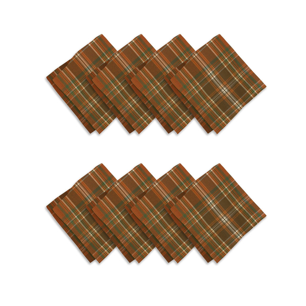 Loden Plaid Harvest Fall Printed Napkin, Set of 8