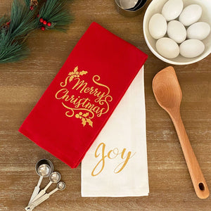 Merry Christmas and Joy Sentiments Cotton Holiday Kitchen Towels, Set of 2
