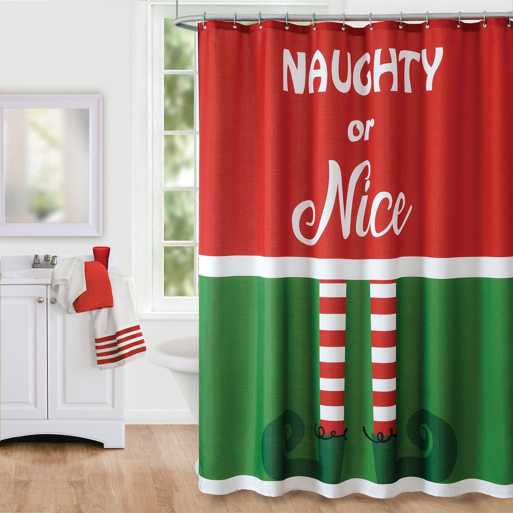 Elf Naughty or Nice Christmas Holiday Fabric Shower Curtain