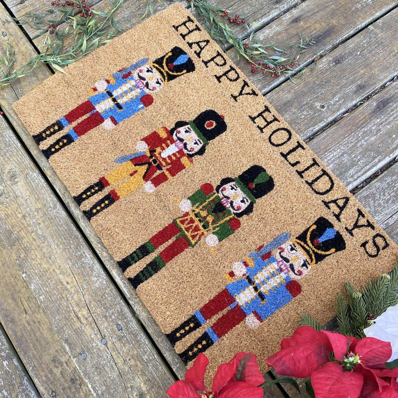 Farmhouse Living Nutcracker Happy Holidays Coir Doormat