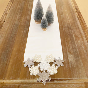 "Ornate Snowflake Elegant Cutwork Holiday Fabric Woven Metallic Table Runner, 13""x70"""