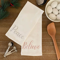 Peace and Believe Sentiments Cotton Holiday Kitchen Towels, Set of 2