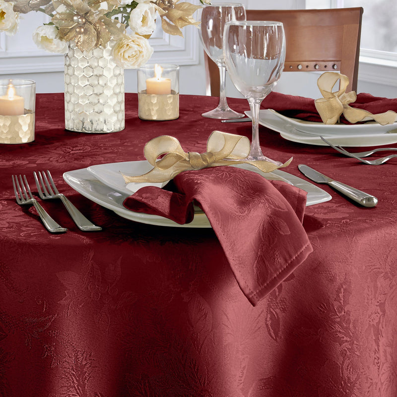 Poinsettia Elegance Jaccquard Holiday Napkins, Set of 4