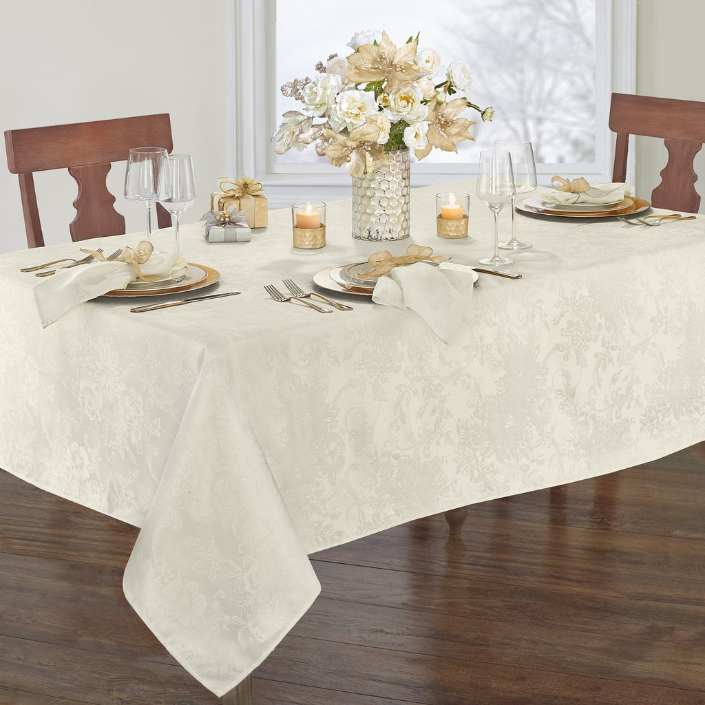 Poinsettia Elegance Jacquard Holiday Tablecloth