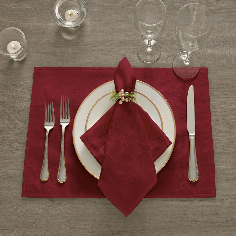 Poinsettia Elegance Jacquard Holiday Placemat, Set of 4