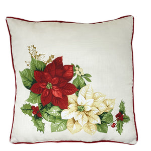 Red and White Poinsettia Elegant Holiday Decorative Throw Pillow