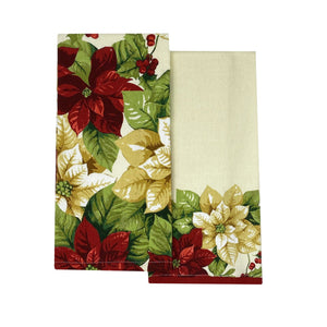 Red and White Poinsettia Elegant Holiday Kitchen Towels, Set of 2