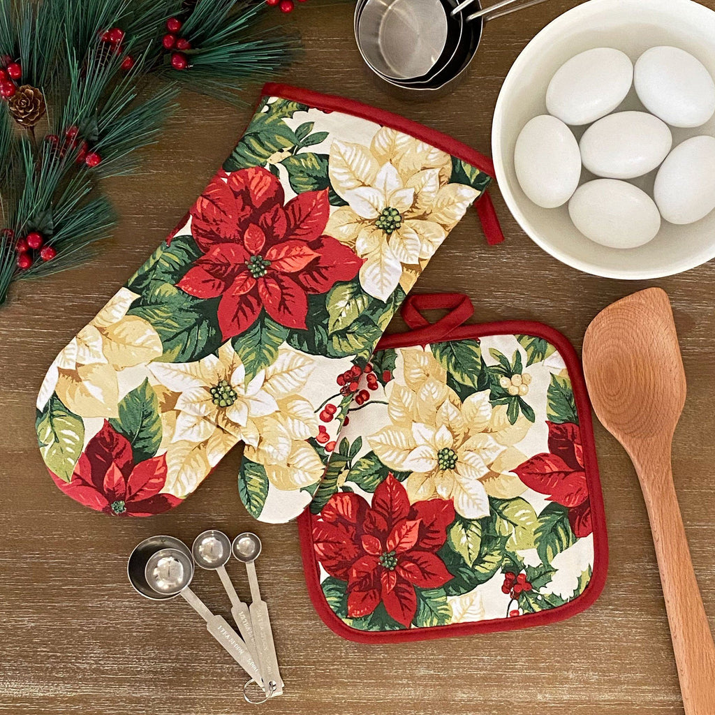 Red and White Poinsettia Elegant Holiday Oven Mitt and Pot Holder Gift, Set of 2 100% Cotton