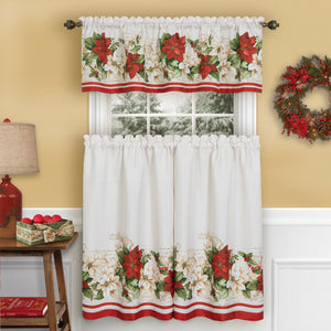 Red and White Poinsettia Elegant Ivory Holiday Kitchen Tiers and Valance, 3 Piece Set