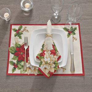 Red and White Poinsettias Placemat, Set of 4