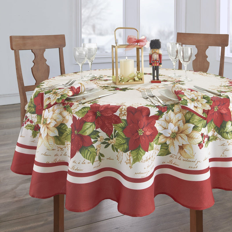 Red and White Poinsettias Tablecloth