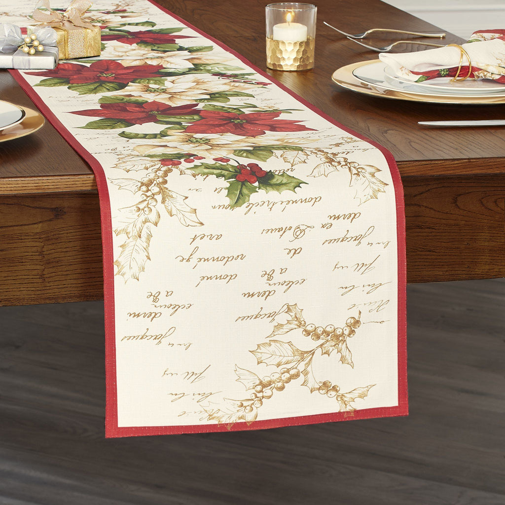 Red and White Poinsettias Table Runner