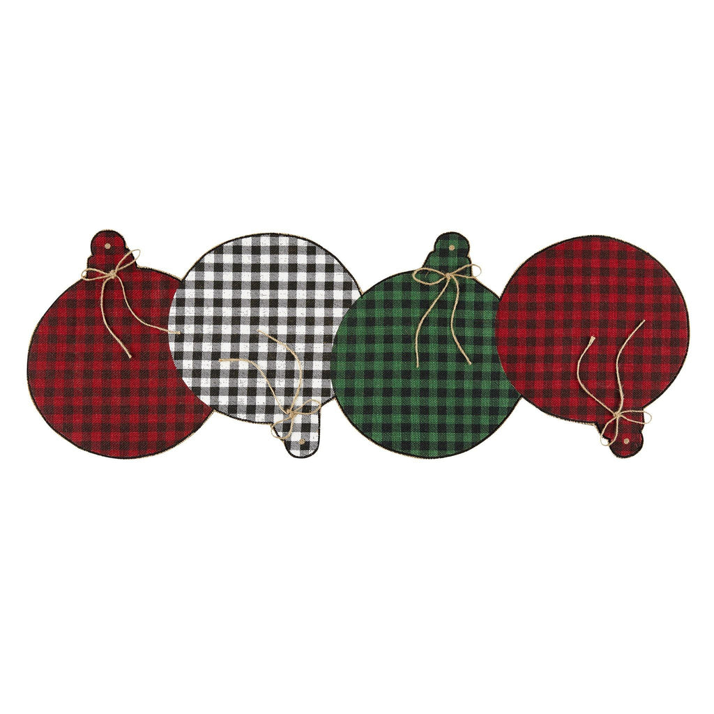 Farmhouse Living Holiday Rustic Ornaments Burlap Centerpiece Runner