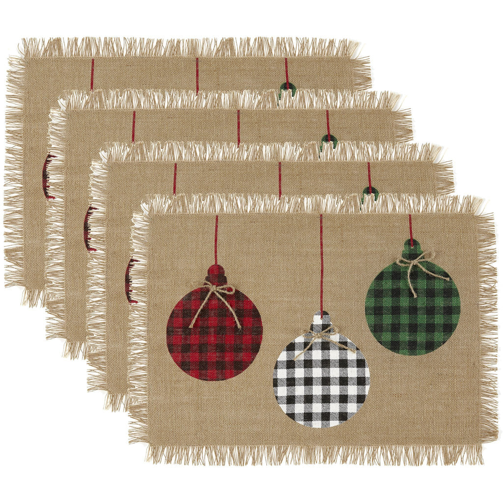 Farmhouse Living Holiday Rustic Ornaments Burlap Placemat, Set of 4