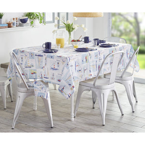 Sail Away Nautical Stain Resistant Indoor/Outdoor Tablecloth