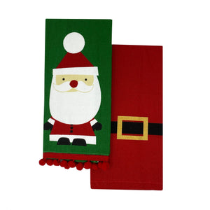 Santa Pom Pom Cotton Christmas Holiday Kitchen Towels, Set of 2