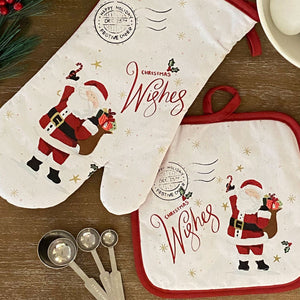 Santa Christmas Wishes Holiday Oven Mitt and Pot Holder Gift, Set of 2
