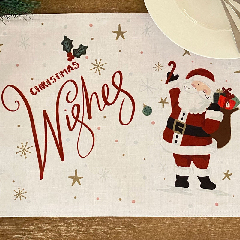 Santa Christmas Wishes Holiday Christmas Placemat - Set of 12