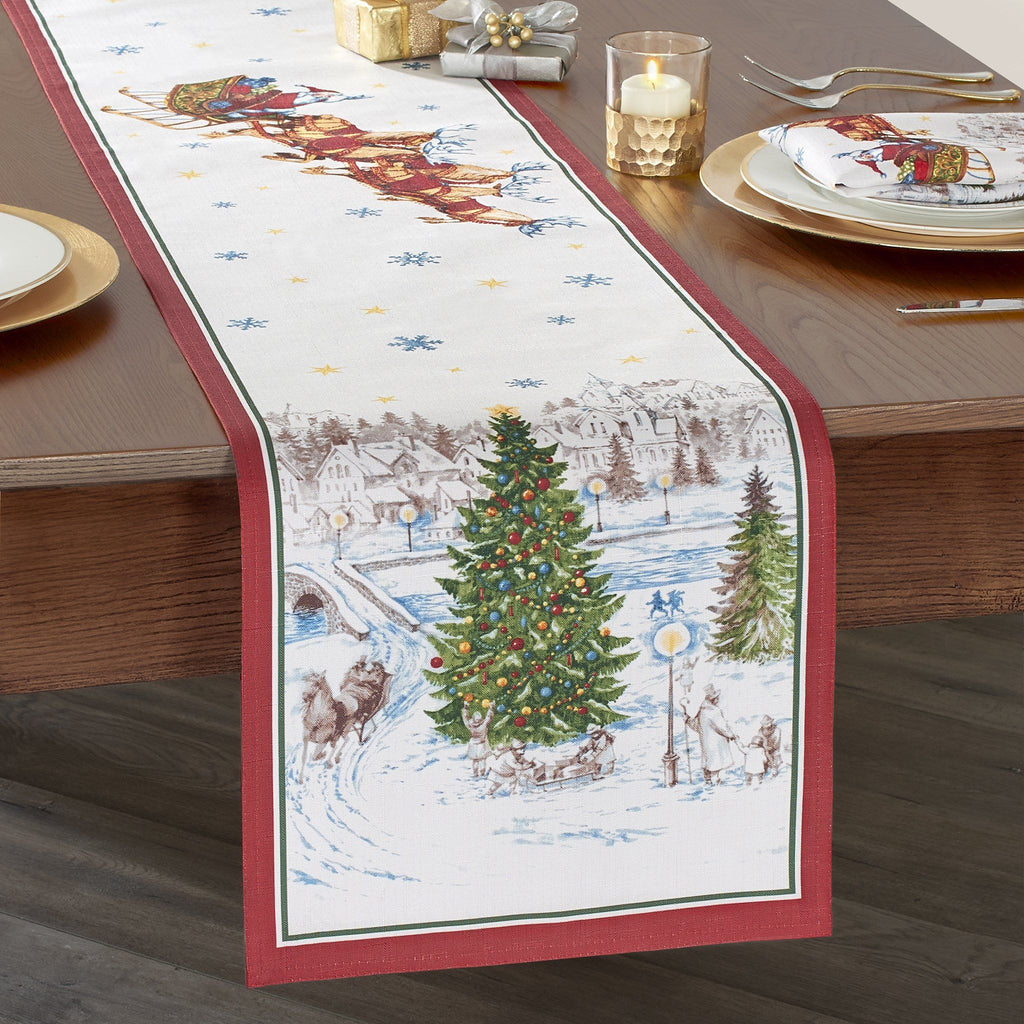 Santa's Snowy Sleighride Table Runner