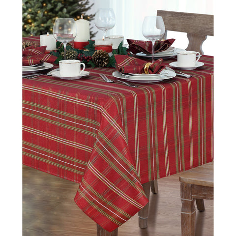 Shimmering Plaid Tablecloth