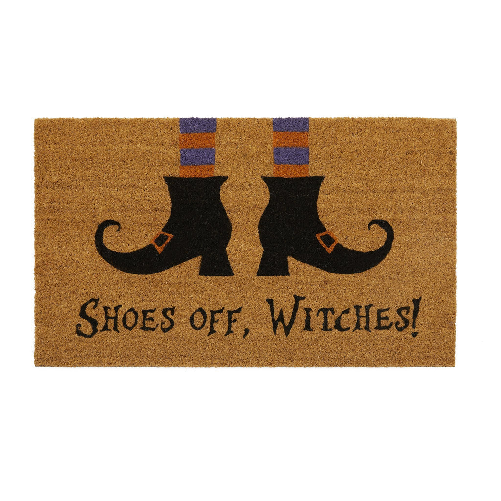 Shoes Off Witches Novelty Halloween Coir Doormat