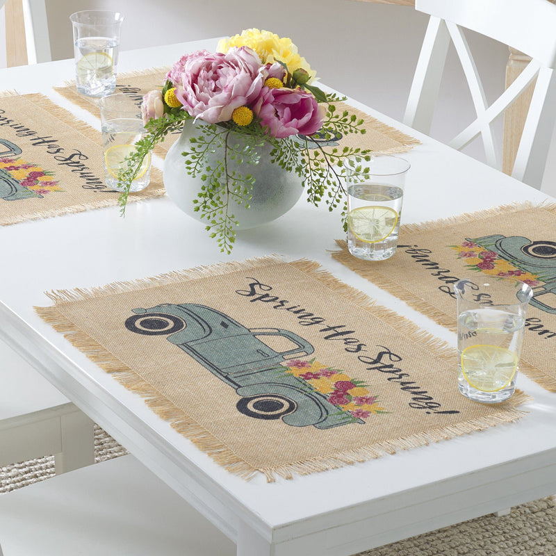 Farmhouse Living Spring Has Sprung Vintage Farm Truck Burlap Placemat