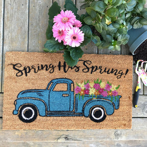 Farmhouse Living Spring Has Sprung Farm Truck Coir Doormat