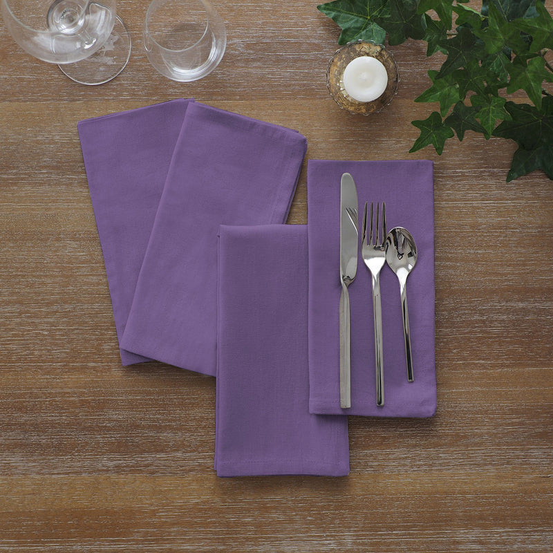 set of 24 purple napkins