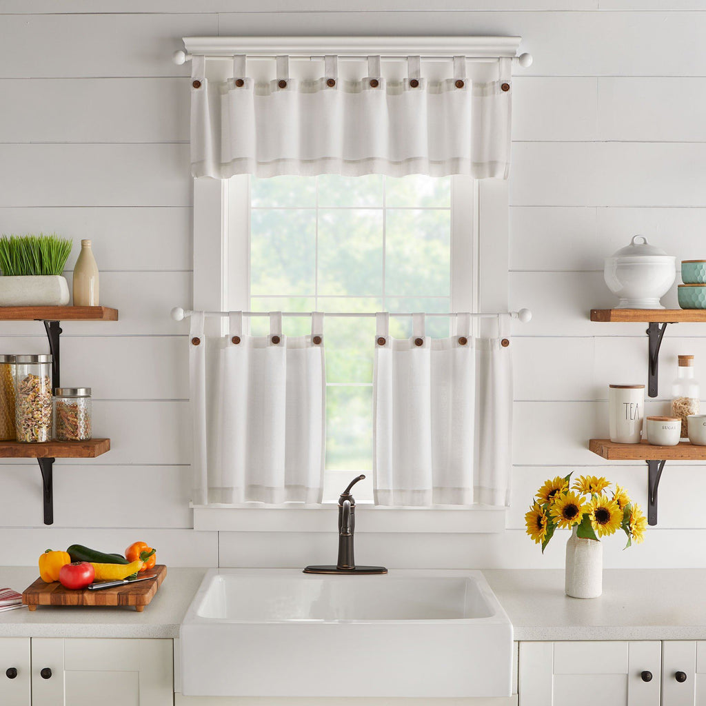 Tucker Solid Button Window Tier Set & Valance